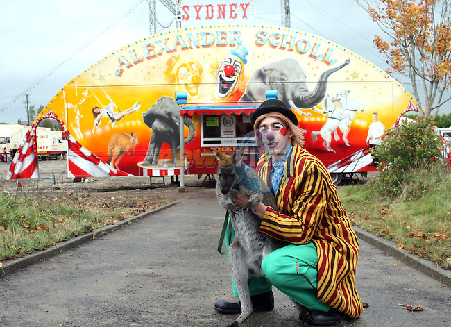 Pippo the Clown with Sydney the Kangaroo at the Australian Circus in Drogheda...Photo NEWSFILE/Jenny Matthews.(Photo credit should read Jenny Matthews/NEWSFILE)....This Picture has been sent you under the condtions enclosed by:.Newsfile Ltd..The Studio,.Millmount Abbey,.Drogheda,.Co Meath..Ireland..Tel: +353(0)41-9871240.Fax: +353(0)41-9871260.GSM: +353(0)86-2500958.email: pictures@newsfile.ie.www.newsfile.ie.FTP: 193.120.102.198.