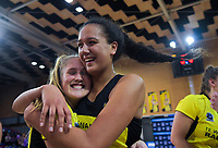 Maddy Gordon and Aliyah Dunn celebrate winning the 2019 ANZ Premiership netball final match between the Central Pulse and Northern Stars at Te Rauparaha Arena in Wellington, New Zealand on Monday, 3 June 2019. Photo: Dave Lintott / lintottphoto.co.nz