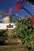 AJ2357, U.S. Virgin Islands, St. Thomas, Virgin Islands, Caribbean, USVI, U.S.V.I., Bougainvillea flowers decorate the grounds of Blackbeard's Castle in Charlotte Amalie the territorial capital of the US Virgin Islands on Saint Thomas Island.