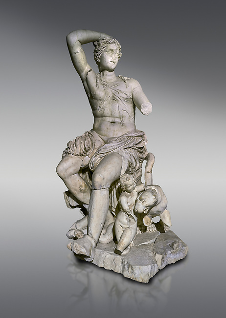 Roman statue of Dionysus. Marble. Perge. 2nd century AD. Inv no . Antalya Archaeology Museum; Turkey.<br /> <br /> Dionysus  is the god of the grape-harvest, winemaking and wine, of fertility, ritual madness, religious ecstasy, and theatre in ancient Greek religion and myth.