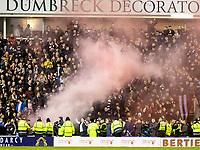 3rd March 2020; Easter Road, Edinburgh, Scotland; Scottish Premiership Football, Hibernian versus Heart of Midlothian; Hearts fans release flare after scoring their opening goal