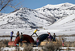 Students play on the playground at the one-room schoolhouse in Ruby Valley, near Ely, Nev., on Monday, March 18, 2019. Three Bookmobiles cover more than 52,000 square miles throughout rural Nevada bringing books, laptops, Wi-Fi, classes and programming to their users.  <br /> Photo by Cathleen Allison/Nevada Momentum