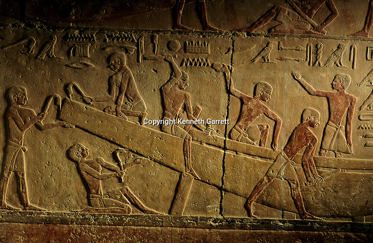 Egypt's Old Kingdom, Tomb of Ti, relief of building of a wood planked Nile boat, Saqqara