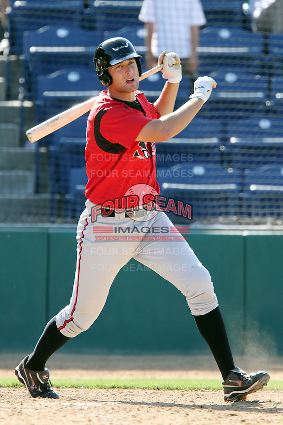 Nate Freiman #20 of the Lake Elsinore Storm bats against the Rancho Cucamonga Quakes at The Epicenter in Rancho Cucamonga,California on April 17, 2011. Photo by Larry Goren/Four Seam Images