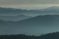 Morning view from Clingman's Dome of hazy mountain layers, Great Smoky Mountains National Park
