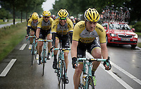 Rick Flens (NLD/LottoNL-Jumbo) leads the LottoNL-Jumbo train in the pouring rain in front of the peloton as teammate Robert Wagner (DEU/LottoNL-Jumbo) clearly doesn't mind riding in a shower that much...<br /> <br /> stage 5: Eindhoven - Boxtel (183km)<br /> 29th Ster ZLM Tour 2015