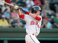 July 29, 2009: Outfielder Jeremy Hazelbaker (15) of the Greenville Drive, 2009 fourth round draft pick of the Boston Red Sox, in a game at Fluor Field at the West End in Greenville, S.C. Photo by: Tom Priddy/Four Seam Images