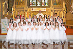 Listowel Convent Primary School pupils who made their First Holy Communion in St Mary's Church, Listowel on Saturday were front l-r: Regan O'Connor, Maggiebeth Boland, Grace Guiney, Rachel O'Sullivan, Laura Canty, Caoimhe Enright, Nicola Collins, Siome Keating, Zara O'Doherty, Ellen Keane, Shauna Hamilton Middle l-r: Croi McAuliffe, Ava Grimes, Emma Browne, Annnya Mulvihill, Clodagh O'Sullivan, Martina Bajgerova, Gosia Gorzalczynska, Ellen Godfery, Laura Buckley, Lelani Joy. Back l-r: Aoife Murphy, Isabelle Keane, Louise Quinlan, Veroniha Kazimierska, Sarah Hunt, Cleona Pierse, Aimee Maison, Elise Harris, Hannah Healey with teacher, Elaine McCarthy, Fr Declan O'Connor and teacher, Anne Brosnan.
