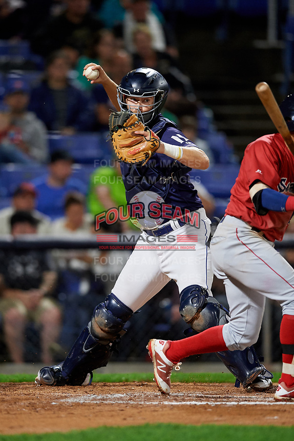 Binghamton Rumble Ponies catcher Patrick Mazeika (11) throws to first base during a game against the Portland Sea Dogs on August 31, 2018 at NYSEG Stadium in Binghamton, New York.  Portland defeated Binghamton 4-1.  (Mike Janes/Four Seam Images)