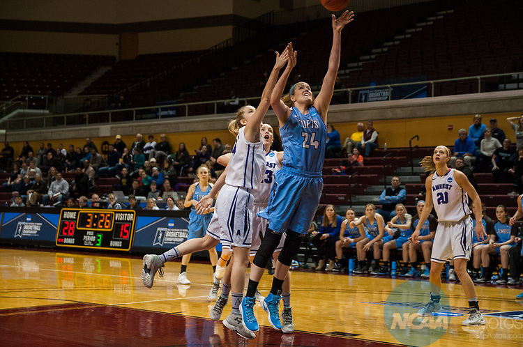 GRAND RAPIDS, MI - MARCH 18: Michela North (24) of Tufts University goes for the basket during the Division III Women's Basketball Championship held at Van Noord Arena on March 18, 2017 in Grand Rapids, Michigan. Amherst College defeated Tufts University 52-29 for the national title. (Photo by Brady Kenniston/NCAA Photos via Getty Images)