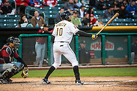 Kyle Kubitza (10) of the Salt Lake Bees at bat against the Sacramento River Cats in Pacific Coast League action at Smith's Ballpark on April 17, 2015 in Salt Lake City, Utah.  (Stephen Smith/Four Seam Images)