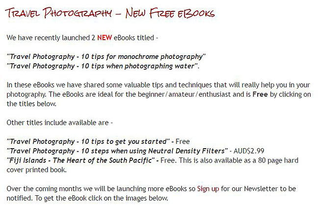 Free eBook - 10 Tips when photographing water.<br />