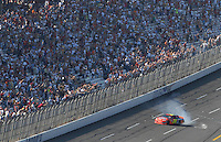 Apr 29, 2007; Talladega, AL, USA; Nascar Nextel Cup Series driver Jeff Gordon (24) celebrates after winning the Aarons 499 under caution at Talladega Superspeedway. With the victory Gordon passed the late Dale Earnhardt Sr with all time wins. Mandatory Credit: Mark J. Rebilas