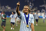 08 August 2012: Kansas City's Chance Myers salutes the fans after the game. Sporting Kansas City won the championship over Seattle Sounders FC 3-2 on penalties after the game ended in a 1-1 tie at Livestrong Sporting Park in Kansas City, Kansas in the 2012 Lamar Hunt U.S. Open Cup Final.