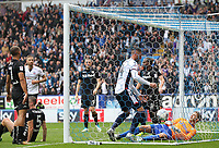 Bolton Wanderers' Gary Madine retrieves the ball from the nest after scoring his sides first goal<br /> <br /> Photographer Andrew Kearns/CameraSport<br /> <br /> The EFL Sky Bet Championship - Bolton Wanderers v Leeds United - Sunday 6th August 2017 - Macron Stadium - Bolton<br /> <br /> World Copyright &copy; 2017 CameraSport. All rights reserved. 43 Linden Ave. Countesthorpe. Leicester. England. LE8 5PG - Tel: +44 (0) 116 277 4147 - admin@camerasport.com - www.camerasport.com