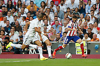 13.09.2014 SPAIN -  La Liga 14/15 Matchday 03th  match played between Real Madrid CF vs Atletico de Madrid Bernabeu stadium. The picture show Kepler Laveran Pepe (Portuguese/Brazilian defender of Real Madrid) and Guilherme Madalena Siqueira (Brazilian defender of At. Madrid)