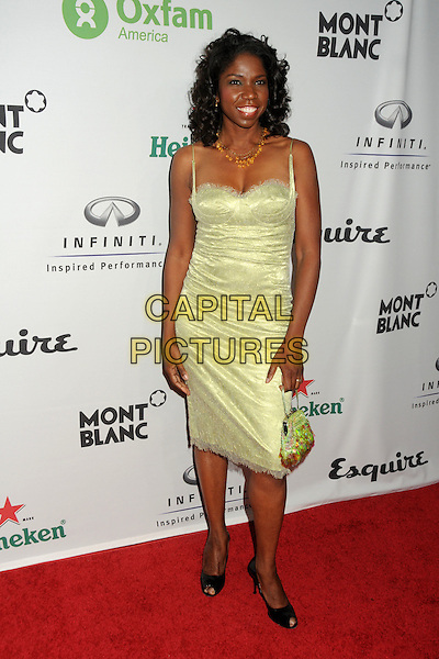 "NICKI MICHEAUX .Oxfam America and Esquire House LA Host ""The Oxfam Party"" held at Esquire House LA, Los Angeles, California, USA, .full length green lace bustier dress .CAP/ADM/BP.©Byron Purvis/AdMedia/Capital Pictures."