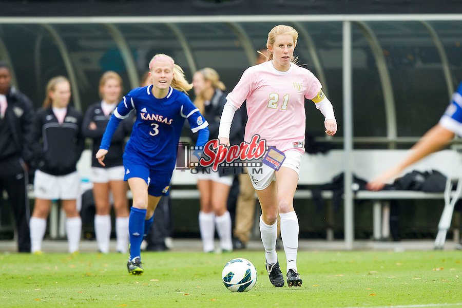 Jackie Logue (21) of the Wake Forest Demon Deacons during first half action against the Kansas Jayhawks at Spry Soccer Stadium on October 7, 2012 in Winston-Salem, North Carolina.  The Demon Deacons and the Jayhawks battled to a 1-1 tie in double overtime.  (Brian Westerholt/Sports On Film)