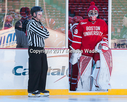 Pat Turcotte, Jake Oettinger (BU - 29)<br />  - The Boston University Terriers defeated the University of Massachusetts Minutemen 5-3 on Sunday, January 8, 2017, at Fenway Park in Boston, Massachusetts.The Boston University Terriers defeated the University of Massachusetts Minutemen 5-3 on Sunday, January 8, 2017, at Fenway Park.