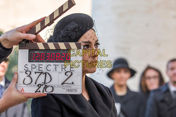 Monica Bellucci on location in Rome<br /> on the set of Spectre (2015) <br /> *Filmstill - Editorial Use Only*<br /> CAP/FB<br /> Image supplied by Capital Pictures