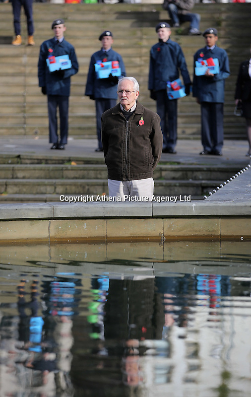 Pictured: A man observes the minute's silence Friday 11 November 2016<br />