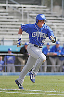 University of Kentucky Wildcats third baseman Thomas Bernal (46) at bat during a game against the Ball State Cardinals at Brooks Field on the campus of University of North Carolina-Wilmington on February 13, 2015 in Wilmington, North Carolina. Kentucky defeated Ball State 11-7. (Robert Gurganus/Four Seam Images)