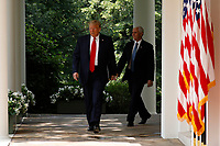 United States President Donald J. Trump, left, and US Vice President Mike Pence arrive to deliver remarks and sign H.R. 7010 - PPP Flexibility Act of 2020 in the Rose Garden of the White House in Washington, DC on June 5, 2020. <br /> Credit: Yuri Gripas / Pool via CNP/AdMedia