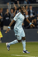 C.J Sapong (17) forward Sporting KC celebrates the opening goal..Sporting Kansas City defeated Montreal Impact 2-0 at Sporting Park, Kansas City, Kansas.