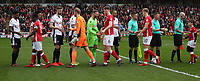 Barnsley and Bolton Wanderers during the line out at the start of todays match<br /> <br /> Photographer Rachel Holborn/CameraSport<br /> <br /> The EFL Sky Bet Championship - Barnsley v Bolton Wanderers - Saturday 14th April 2018 - Oakwell - Barnsley<br /> <br /> World Copyright &copy; 2018 CameraSport. All rights reserved. 43 Linden Ave. Countesthorpe. Leicester. England. LE8 5PG - Tel: +44 (0) 116 277 4147 - admin@camerasport.com - www.camerasport.com