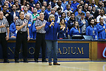 DURHAM, NC - JANUARY 29: Elisabeth Von Trapp, daughter and granddaughter of the Von Trapps of Sound of Music fame, sings the national anthem. The Duke University Blue Devils hosted the University of Notre Dame Fighting Irish on January 29, 2018 at Cameron Indoor Stadium in Durham, NC in a Division I men's college basketball game. Duke won the game 88-66.