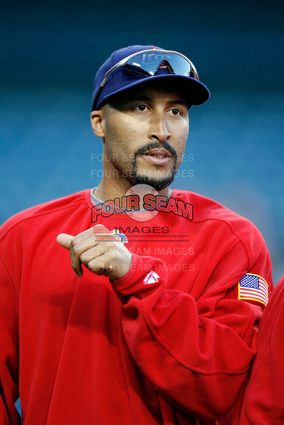 Randy Winn of the USA during the World Baseball Championships at Angel Stadium in Anaheim,California on March 13, 2006. Photo by Larry Goren/Four Seam Images