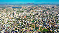 Aerial view of the fields and sports fields and gimmacio of the University of Sonora. The Unison mile. Hermosillo, Sonora. Baseball fields, synthetic grass, soccer fields.<br /> (Photo: Luis Gutierrez / NortePhoto.com)<br /> <br /> Vista aerea las canchas y campos deportivos y gimmacio de la Universidad de Sonora. La milla de la Unison. Hermosillo, Sonora. Campos de beisbol, pasto sintetico, canchas de futbol. <br /> (Photo: Luis Gutierrez/NortePhoto.com)