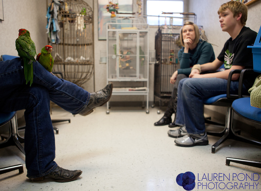 James Shepherd sits with his two Conure parrots in the waiting room of the Avian Health Clinic Inc. in Reynoldsburg, Ohio, on Oct. 27, 2012. Wyatt Price, 13, front right, and Shanna Price, both of Tiffin, Ohio, wait with their pet Cockatiel. Shepherd, of Lincoln Village, Ohio, is a trucker and sometimes takes his birds with him on the road, he said.