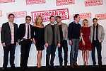 "19.04.2012. Presentation Photocall at the Hotel Villamagna in Madrid of ""American Pie. The Reunion"" with actors Jason Biggs (Jim), Sean William Scott (Stifler), Chris Klein (Oz), Mena Suvari (Heather), Eugene Levy (Jim's father) and Jennifer Coolidge (Stifler's Mother) and directors John Hurwitz and Hayden Schlossberg. In the picture: John Hurwitz, Eugene Levy, Jennifer Coolidge, Hayden Schlossberg, Seann William Scott, Chris Klein, Mena Suvari and Jason Biggs (Alterphotos/Marta Gonzalez)"