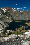 Overlooking Heather Lake in the high alpine mountains of Desolation Wilderness, El Dorado National Forest, California