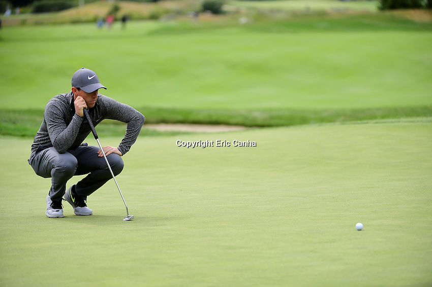 Monday, September 5, 2016:  Rory McIlroy of Northern Ireland studies his putt on the seventh green during the final round of the Deutsche Bank Championship tournament held at the Tournament Players Club, in Norton, Massachusetts.  Rory McIlroy of Northern Ireland wins the Deutsche Bank Championship with a final tournament score of -15 269.   Eric Canha/Cal Sport Media
