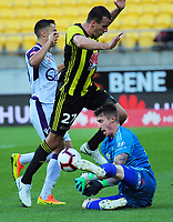Replacement Phoenix keeper Oliver Sail makes a save during the A-League football match between Wellington Phoenix and Perth Glory at Westpac Stadium in Wellington, New Zealand on Saturday, 2 December 2018. Photo: Dave Lintott / lintottphoto.co.nz