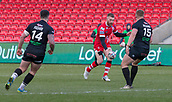 10th February 2019, AJ Bell Stadium, Salford, England; Betfred Super League rugby, Salford Red Devils versus London Broncos; Jackson Hastings of Salford Red Devils kicks the ball past Greg Richards of London Broncos