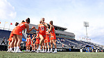 DURHAM, NC - FEBRUARY 16: Campbell's Rose Prizzi (13). The Duke University Blue Devils hosted the Campbell University Camels on February 16, 2018, at Koskinen Stadium in Durham, NC in women's college lacrosse match. Duke won the game 18-8.