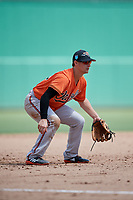 Baltimore Orioles third baseman Branden Becker (99) during a Florida Instructional League game against the Boston Red Sox on September 21, 2018 at JetBlue Park in Fort Myers, Florida.  (Mike Janes/Four Seam Images)