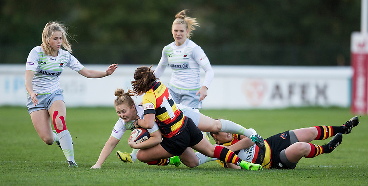 Saracens&rsquo; April Brown in action during todays match<br /> <br /> Photographer Bob Bradford/CameraSport<br /> <br /> Rugby Union - Tyrrells Premier 15s - Richmond v Saracens - Saturday 21st October 2017 - The Athletic Ground - Richmond<br /> <br /> World Copyright &copy; 2017 CameraSport. All rights reserved. 43 Linden Ave. Countesthorpe. Leicester. England. LE8 5PG - Tel: +44 (0) 116 277 4147 - admin@camerasport.com - www.camerasport.com