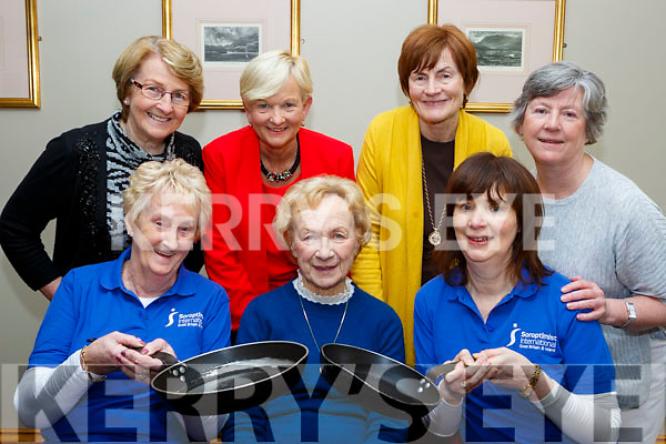 Killarney Soroptimists launching their Pancake morning which will be held in the Killarney avenue Hotel on February 13th front row l-r:Eileen Foley, Anne O'Connor and  Eimer Moynihan President. Back row: Catherine Gleeson, Anne Wrenn, Bridie Brosnan and Mona Looney