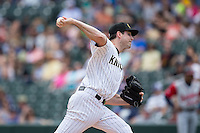 Charlotte Knights starting pitcher Scott Carroll (18) in action against the Gwinnett Braves at BB&T BallPark on May 22, 2016 in Charlotte, North Carolina.  The Knights defeated the Braves 9-8 in 11 innings.  (Brian Westerholt/Four Seam Images)