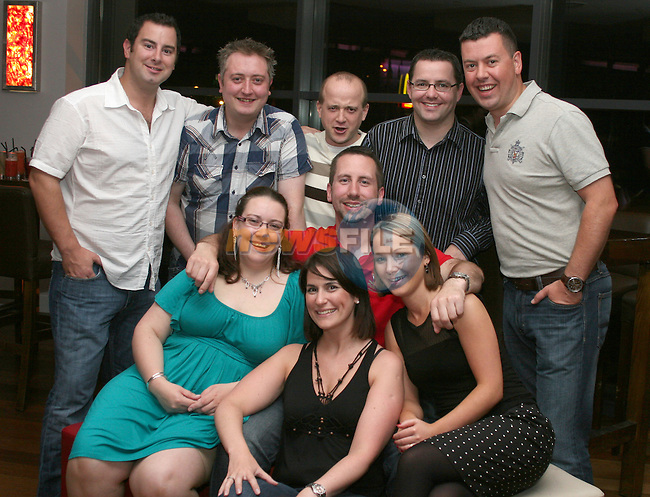 Colin O'Rourke from the Purple Room celebrating his birthday with Karen Jordan, Ciara McGrane, Glenda McCole, Ken Bourke, Liam McCole, Seany Walshe, Stephen Bourke and David O'Rourke in Bru...Photo NEWSFILE/Jenny Matthews.(Photo credit should read Jenny Matthews/NEWSFILE)....This Picture has been sent you under the condtions enclosed by:.Newsfile Ltd..The Studio,.Millmount Abbey,.Drogheda,.Co Meath..Ireland..Tel: +353(0)41-9871240.Fax: +353(0)41-9871260.GSM: +353(0)86-2500958.email: pictures@newsfile.ie.www.newsfile.ie.FTP: 193.120.102.198.