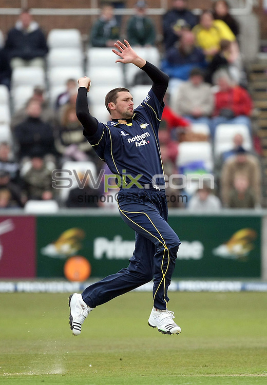 PICTURE BY VAUGHN RIDLEY/SWPIX.COM - Cricket - Friends Provident Trophy - Durham v Yorkshire - The Riverside, Durham, England - 20/04/08...Copyright - Simon Wilkinson - 07811267706..Durham's Stephen Harmison bowls Yorkshire's Gerard Brophy with his first ball.