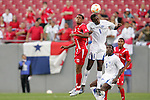 11 March 2008: Jefferson Bernardez (HON) (9) and Anibal Godoy (PAN) (left) challenge for the ball. The Honduras U-23 Men's National Team defeated the Panama U-23 Men's National Team 1-0 at Raymond James Stadium in Tampa, FL in a Group A game during the 2008 CONCACAF's Men's Olympic Qualifying Tournament.