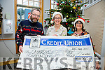 Cahersiveen Credit Union presented a cheque for €1000 to the Hospice in St Anne's Hospital Cahersiveen on Friday pictured here l-r; Michael O'Connell(Chairman CCU), Noirín Donnelly(Matron) & Elma Shine(Manager CCU)