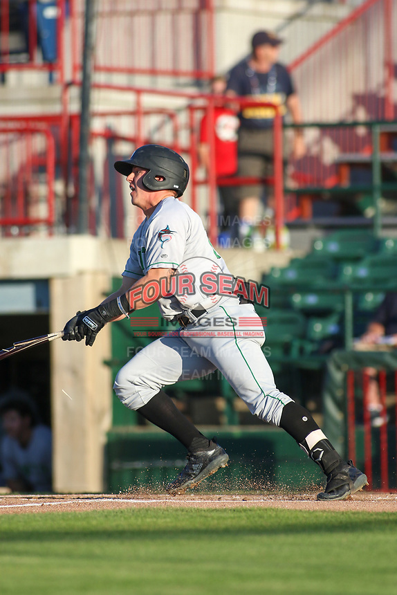 Clinton LumberKings Peyton Burdick (27) at bat during a Midwest League game against the Burlington Bees on August 28, 2019 at Community Field in Burlington, Iowa.  Clinton defeated Burlington 5-0.  (Travis Berg/Four Seam Images)