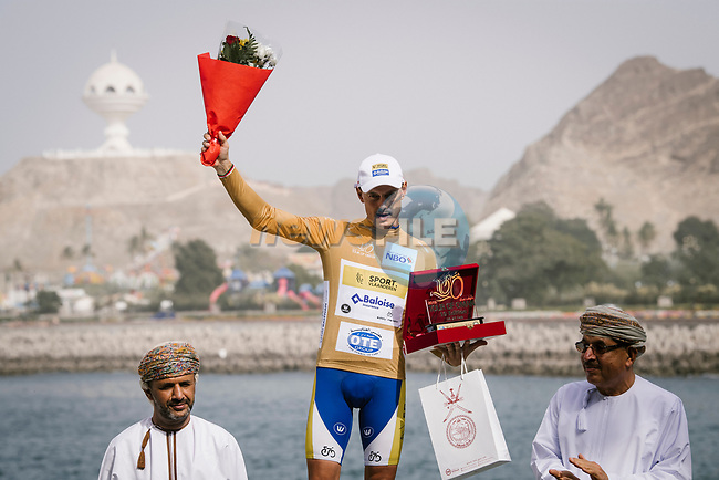 Gold Jersey for most combative rider Preben Van Hecke (BEL) Sport Vlaanderen-Baloise after Stage 6 of the 10th Tour of Oman 2019, running 135.5km from Al Mouj Muscat to Matrah Corniche, Oman. 21st February 2019.<br /> Picture: ASO/P. Ballet | Cyclefile<br /> All photos usage must carry mandatory copyright credit (© Cyclefile | ASO/P. Ballet)