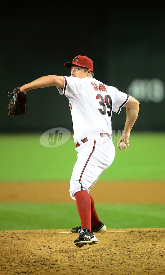 Apr. 17, 2012; Phoenix, AZ, USA; Arizona Diamondbacks pitcher Bryan Shaw throws against the Pittsburgh Pirates at Chase Field.Mandatory Credit: Mark J. Rebilas-.